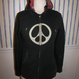 Lucky Brand Peace Black Hoodie Medium $68